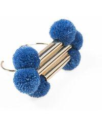 Viviane Guenoun - Adjustable Tubes Gold Plated Pompoms Bracelet - Blue - Lyst