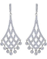 Jewelry Affairs - Sterling Silver And Cubic Zirconia Shaped Chandelier Drop Earrings - Lyst