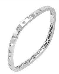 Amanda Rose Collection - Amanda Rose Cubic Zirconia Fancy Bezel Cuff Bangle In Sterling Silver - Lyst
