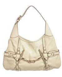 Gucci - Ivory Leather 85th Anniversary Bridle Bit Hobo Bag - Lyst