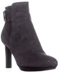 Aquatalia - Rochelle Buckle Zip Up Stiletto Ankle Boots, Antracite - Lyst
