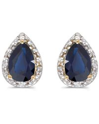 Amanda Rose Collection - 14k Yellow Gold Pear Sapphire And Diamond Earrings - Lyst