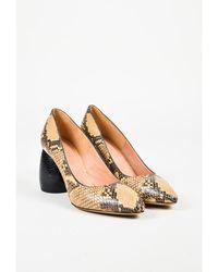 Dries Van Noten - Beige & Brown Leather Embossed Heel Almond Toe Court Shoes - Lyst