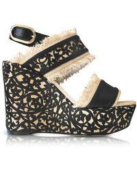 Oscar de la Renta - Women's Black Jute Sandals - Lyst