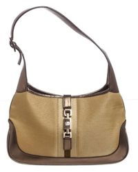 bce5abfffe7f Gucci - Metallic Gold Canvas Leather Jackie Shoulder Bag - Lyst