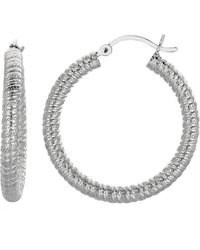 Jewelry Affairs - Sterling Silver Rhodium Finish Shiny Twisted Cable Round Hoop Earrings , Diameter 30mm - Lyst