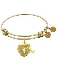 Angelica - Stipple Finish Brass Key To My Heart Bangle Bracelet, 7.25 - Lyst