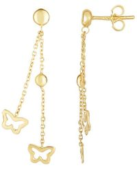 Jewelry Affairs - 14k Yellow Gold Butterflies On Double Graduated Strand Chain Drop Earrings - Lyst