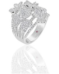 Suzy Levian - Sterling Silver Cubic Zirconia Multi Flower Ring - Lyst