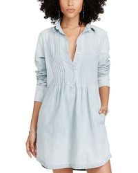 Denim & Supply Ralph Lauren - Pintucked Chambray Cotton Dress - Lyst