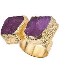 Jewelista | 18k Gold Plate & Cherry Druzy Floating Ring | Lyst