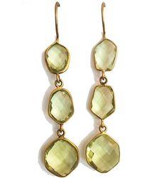 Blue Candy Jewelry - Poprox Triple Drop Earrings Yellow Quartz - Lyst