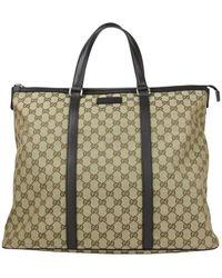 Gucci - Original GG Beige/brown Canvas Leather Trim Zip Top Tote Bag 449170 9903 - Lyst