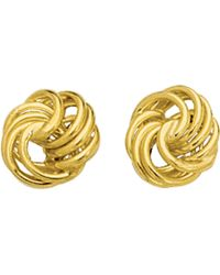 Jewelry Affairs - 14k Gold Shiny Textured 4 Row Love Knot Stud Earrings, 10mm - Lyst