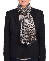 Roberto Cavalli - Animal-printed Silk Scarf Black/white/brown - Lyst