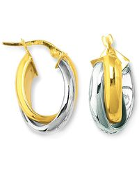 Jewelry Affairs - 14k Yellow And White Gold Round Shapetwo Tone Double Row Hoop Earrings - Lyst