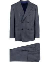 Pal Zileri - Blue Striped Wool Double Breasted Suit - Lyst
