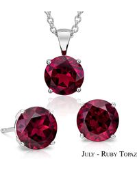Suzy Levian - 18k Goldplated Sterling Silver 3ct Ruby Topaz July Birthstone Set Made With Swarovski Gemstones - Lyst