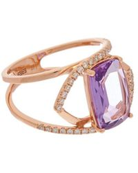 Effy - Fine Jewelry 14k Rose Gold 3.38 Ct. Tw. Diamond & Amethyst Ring - Lyst