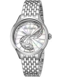 Roberto Cavalli - Women's White Mop Dial Stainless Steel Watch - Lyst