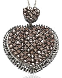 Suzy Levian - Pave Cubic Zirconia Sterling Silver Chocolate Heart Pendant - Lyst
