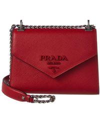 5f95b10ef8aa Prada - Monochrome Saffiano Leather Shoulder Bag - Lyst