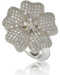 Suzy Levian - Cubic Zirconia Sterling Silver Flower Pave Ring - Lyst