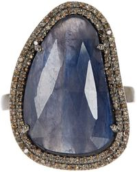 Adornia - Blue Sapphire And Champagne Diamond Gemma Ring - Lyst