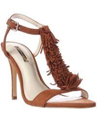 BCBGeneration - Clue Fringe T-strap Dress Sandals, Caramel - Lyst