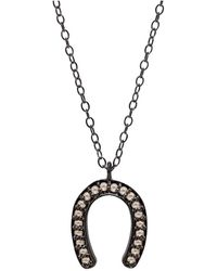 Adornia - Champagne Diamond And Sterling Silver Jules Horseshoe Necklace - Lyst