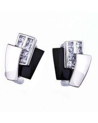 Jewelista - Silver, White Agate, Onyx & Cubic Zirconia Earrings - Lyst