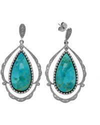Pangea Mines - Turquoise & White Topaz Teardrop Earrings - Lyst