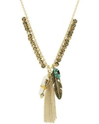Sparkling Sage - 14k Plated Resin Feather Cluster Necklace - Lyst