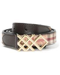 Burberry - Women's Brown Leather Belt - Lyst