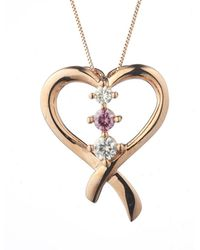 Charles & Colvard - Forever Classic Round 3.5mm Moissanite Heart Pendant Necklace, 0.32cttw Dew - Lyst