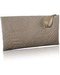 Nada Sawaya - Gigi - Large Embroidered Leather Rectangular Wristlet Clutch - Taupe - Lyst