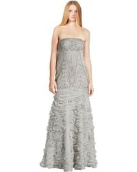 Sue Wong - Extravagant Silver Strapless Chiffon Ribbon Beaded Gown - Lyst