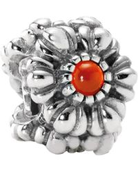 PANDORA - Birthday Blooms Silver Carnelian Charm - Lyst