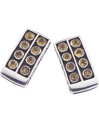 Jewelista | Oxidized Sterling Silver & Citrine Stud Earrings | Lyst