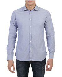 Aglini - Men's Blue Cotton Shirt - Lyst