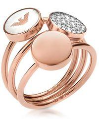 Emporio Armani - Women's Pink Steel Ring - Lyst