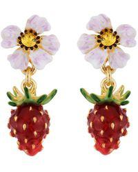 Les Nereides - Royal Gardens Strawberry And White Flower Earrings - Lyst