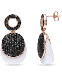 Catherine Malandrino - Synthetic White Agate And Black Cz Layered Earrings - Lyst