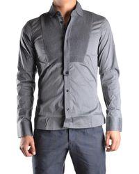 Dirk Bikkembergs - Men's Mcbi097028o Grey Cotton Shirt - Lyst