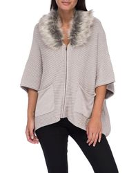 Bobeau - Carlie Caridigan With Faux Fur Collar - Lyst