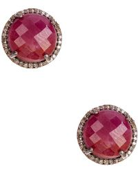 Adornia - Ruby And Champagne Diamond Echo Stud Earrings - Lyst