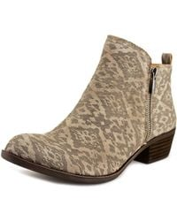 Lucky Brand - Basel Women Round Toe Leather Grey Ankle Boot - Lyst