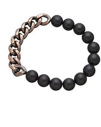 Eklexic - Men's Onyx & Curb Chain Bead Bracelet (copper) - Lyst