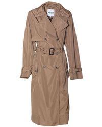 KENZO - Women's Beige Polyester Trench Coat - Lyst