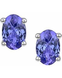 Tia Collections - Oval 6x4mm Genuine Tanzanite Stud Earring - Lyst